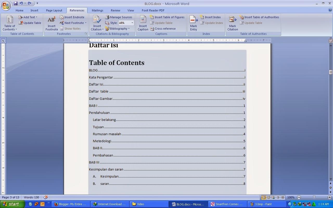 Cara Membuat Daftar Isi, Daftar Gambar, Daftar Tabel